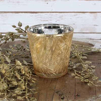 Gold Frosted Votive Candle Holder (L)