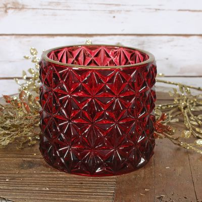 Red Dimple Votive Candle Holder