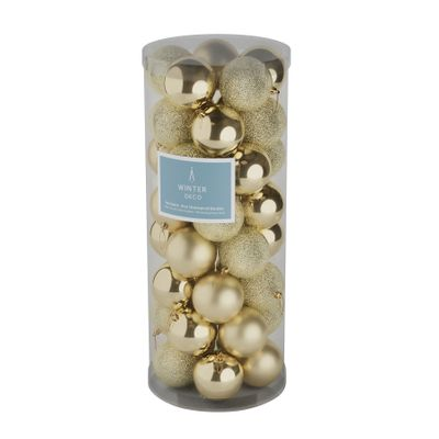 Champagne 8cm Plastic Ball in tube (matt,shiny,glitter) x 40
