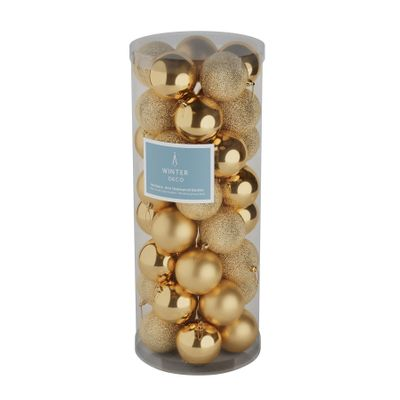 Gold 8cm Plastic Ball in tube (matt,shiny,glitter) x 40