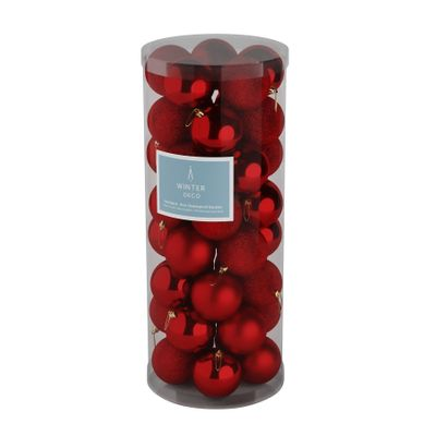 Red 8cm Plastic Ball in tube (matt,shiny,glitter) x 40