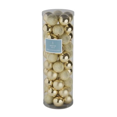Champagne  10cm Plastic Ball in tube (matt,shiny,glitter) x 50