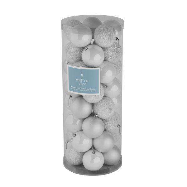 White 8cm Plastic Ball in tube (matt,shiny,glitter) x 40