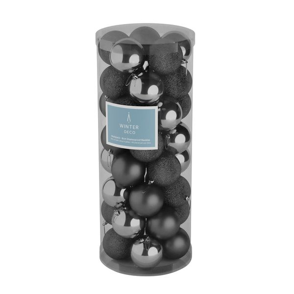 Pewter 8cm Plastic Ball in tube (matt,shiny,glitter) x 40