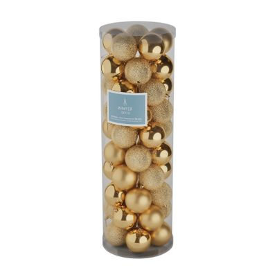 Gold 10cm Plastic Ball in tube (matt,shiny,glitter) x 50