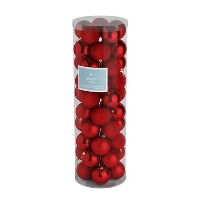 Red 10cm Plastic Ball in tube (matt,shiny,glitter) x 50