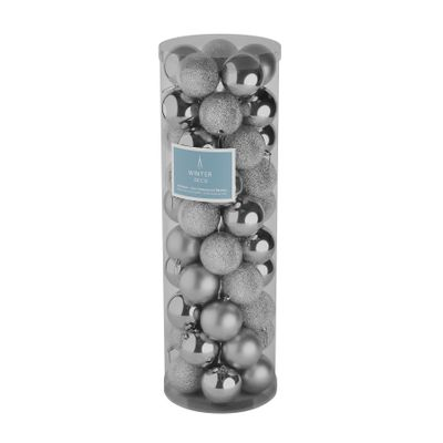 Silver 10cm Plastic Ball in tube (matt,shiny,glitter) x 50