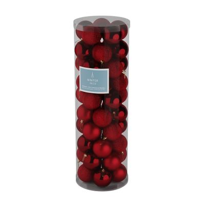 Burgundy 10cm Plastic Ball in tube (matt,shiny,glitter) x 50