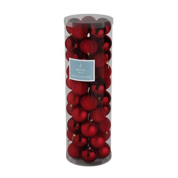Burgundy 10cm Plastic Ball in tube (matt,shiny,glitter) x 50