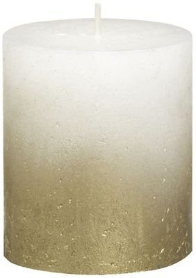 Bolsius Rustic Metallic Candle 80 x 68 - Faded Gold White