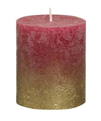 Bolsius Rustic Metallic Candle 80 x 68 - Faded Gold Wine-red