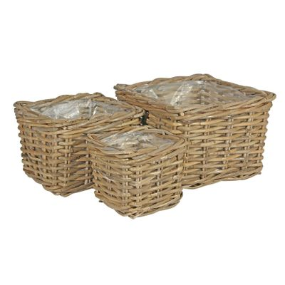 Set of 3 Square Baskets with Liners