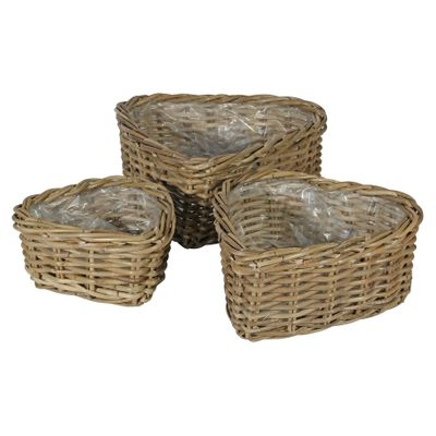 Set of 3 Heart Baskets with Liners
