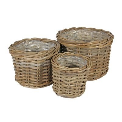 Set of 3 Round Baskets with Liners
