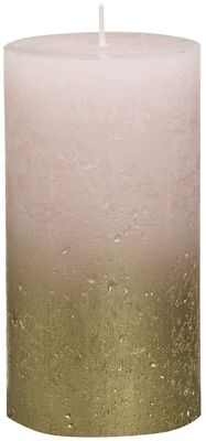 Bolsius Rustic Metallic Candle 130 x 68 - Faded  Gold Pink