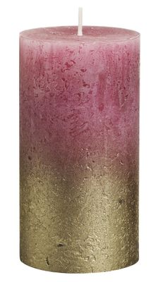 Bolsius Rustic Metallic Candle 130 x 68 - Faded Gold Old Pink