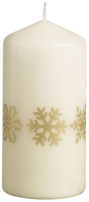 Bolsius Pillar candle 120/58 mm - Gold Snowflakes - Ivory