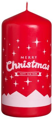 Bolsius Pillar candle 120/58 mm - Merry Christmas -  Red