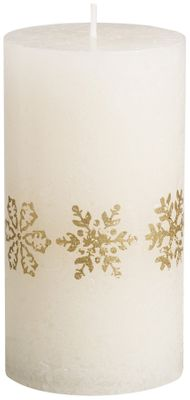 Bolsius Pillar candle 130/68 mm - Gold Snowflakes -  Ivory