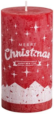 Bolsius Pillar candle 130/68 mm - Merry Christmas -  Red