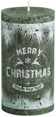 Bolsius Pillar candle 130/68 mm - Merry Christmas -  Pine Green