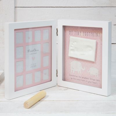 Pink Petit Cheri Foot Imprint 12 Month Hinged Frame