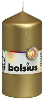 Bolsius Pillar candle Gold 120/58