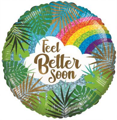 ECO Balloon - Feel Better Soon Leaves & Rainbow (18 Inch)