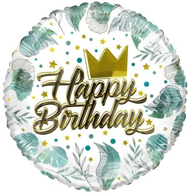ECO Balloon - Birthday Crown & Leaves (18 Inch)