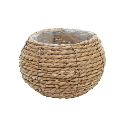 Small Round Grass Basket with Internal Metal Frame 18cm