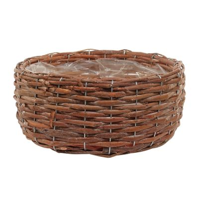 30cm Round Brown Willow Planter (16)