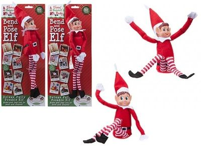 12 Inch 2 assorted Bendable Poseable Christmas Elf Figure With Vinyl Head On Card
