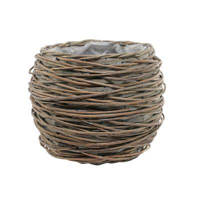 20cm Round Full Willow Basket Light Brown