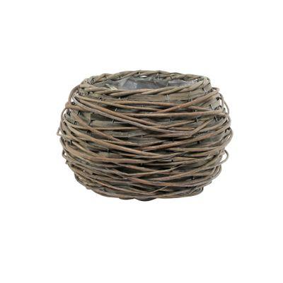 18cm Round Full Willow Basket Light Brown