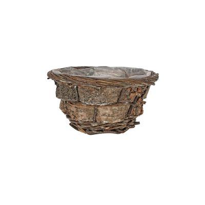 20cm Round Willow and Bark Basket
