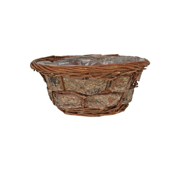 25cm Round Willow and Bark Basket