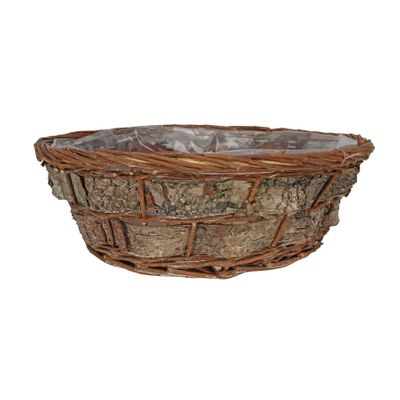 35cm Round Willow and Bark Basket
