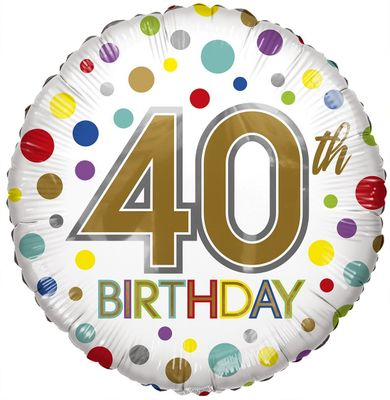 Eco Balloon - Birthday Age 40 (18 Inch)