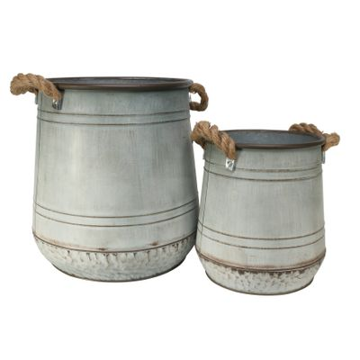 Set of 2 Kingston Planters-Antique Grey