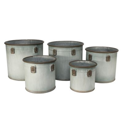 Set of 5 Domingo planters-Antique Grey
