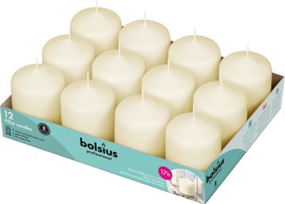Bolsius Professional Pillar Candle - Ivory  - 78/58mm  - Tray of 12