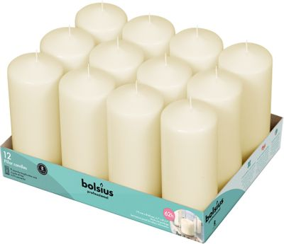 Bolsius Professional Pillar Candle - Ivory  - 168/68mm  - Tray of 12