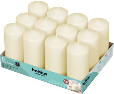 Bolsius Professional Pillar Candle - Ivory  - 118/58mm  - Tray of 12