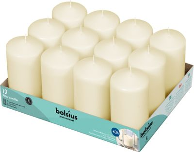 Bolsius Professional Pillar Candle - Ivory  - 128/68mm  - Tray of 12