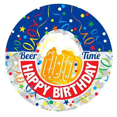 Beer Time Birthday Badge