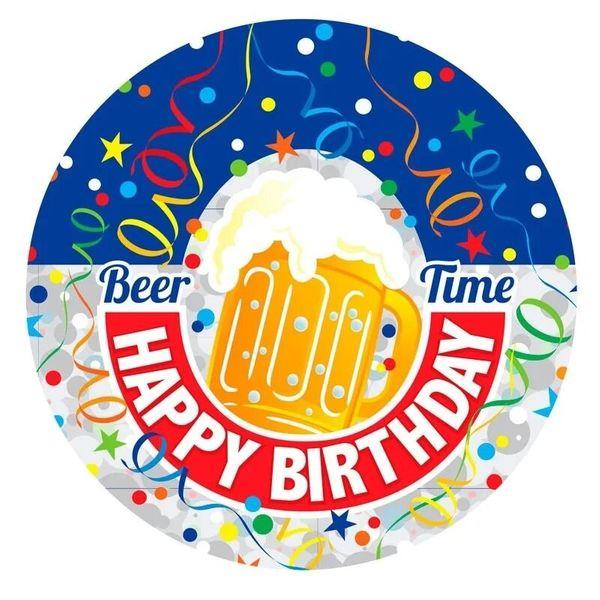 Beer Time Birthday Badge