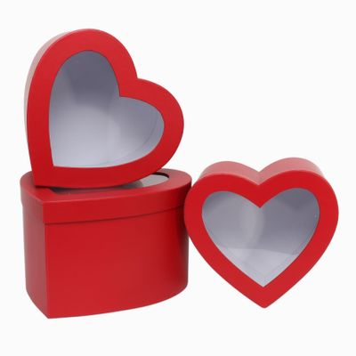 Red Heart Hat Box Set with Window (x3)