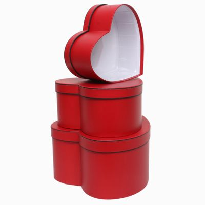 Red Heart with Black Trim Hat Box Set (x3)
