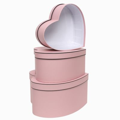 Pink Heart with Trim Hat Box Set (x3)