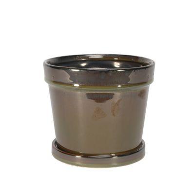 Painted TC Pot with Saucer Vintage Brown-Stoneware (15x13cm)